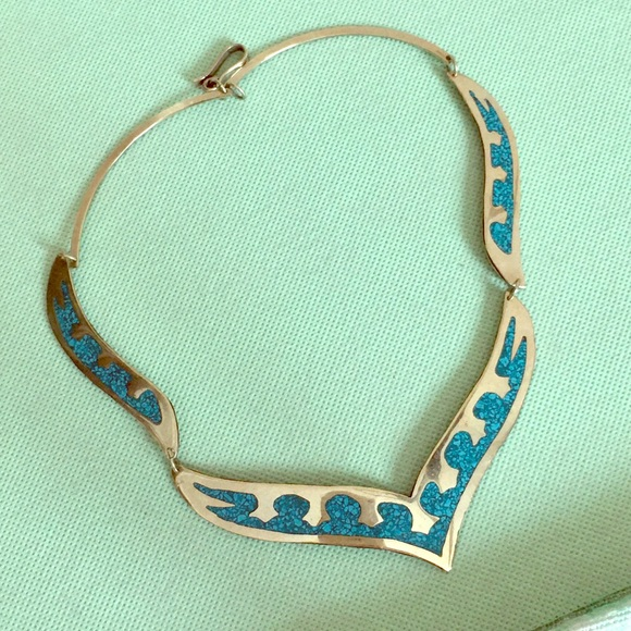 Vintage Mexico Silver w Inlaid Turquoise Necklace